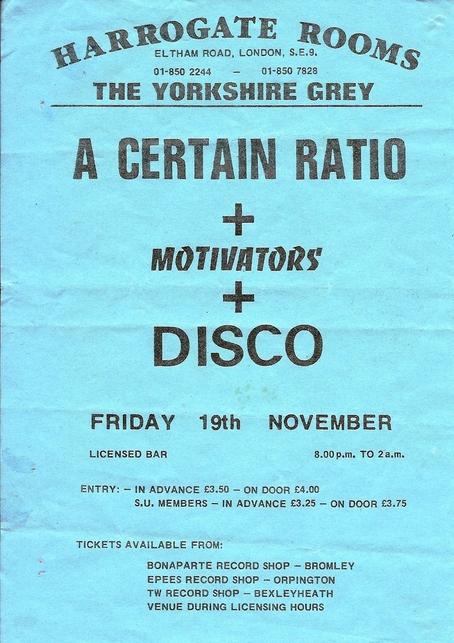 19 Nov 1982, Harrogate Rooms, Eltham Road, London - ACR Gigography