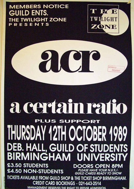 12 Oct 1989, Birmingham University, Birmingham - ACR Gigography