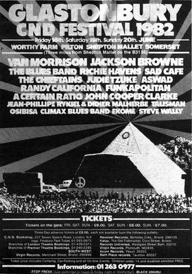 18 Jun 1982, Glastonbury Festival, Worthy Farm, Pilton, Somerset - ACR Gigography
