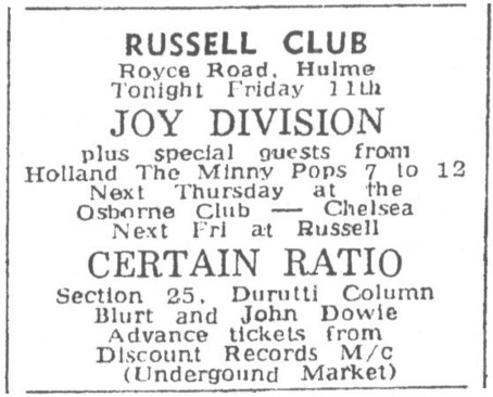 18 Apr 1980, Russell Club (The Factory), Manchester - ACR Gigography