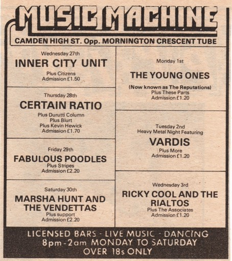 28 Aug 1980, Music Machine, Camden, London - ACR Gigography