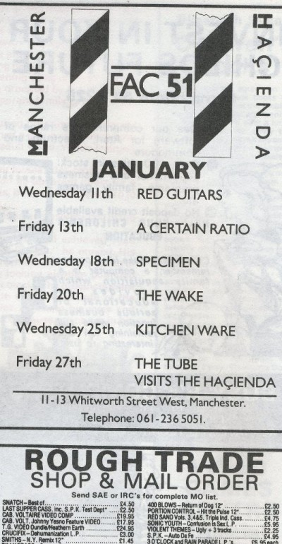 13 Jan 1984, The Haçienda, Manchester - ACR Gigography