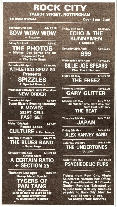 18 Apr 1981, Rock City, Nottingham - ACR Gigography