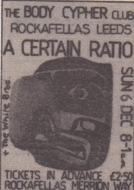 06 Dec 1981, Body Cypher Club, Rockafellas, Leeds - ACR Gigography