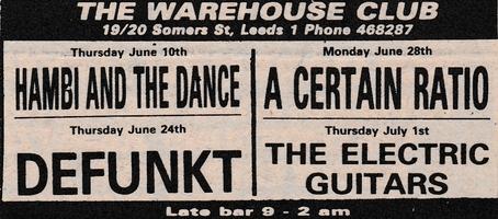28 Jun 1982, Warehouse, Leeds - ACR Gigography