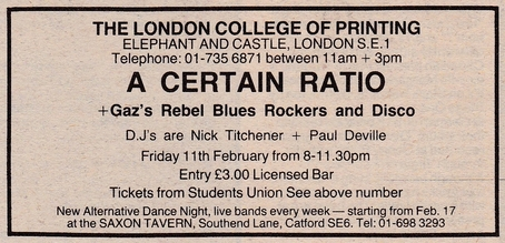 11 Feb 1983, College of Printing, London - ACR Gigography