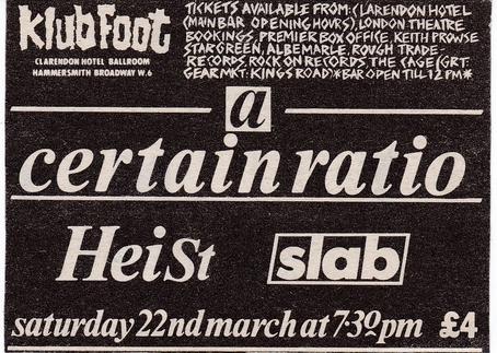 22 Mar 1986, Klub Foot, Clarendon Hotel Ballroom, London - ACR Gigography