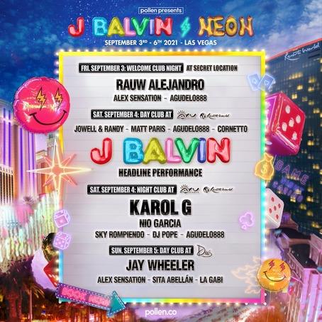 J Balvin Neon 2021 Las Vegas Line Up
